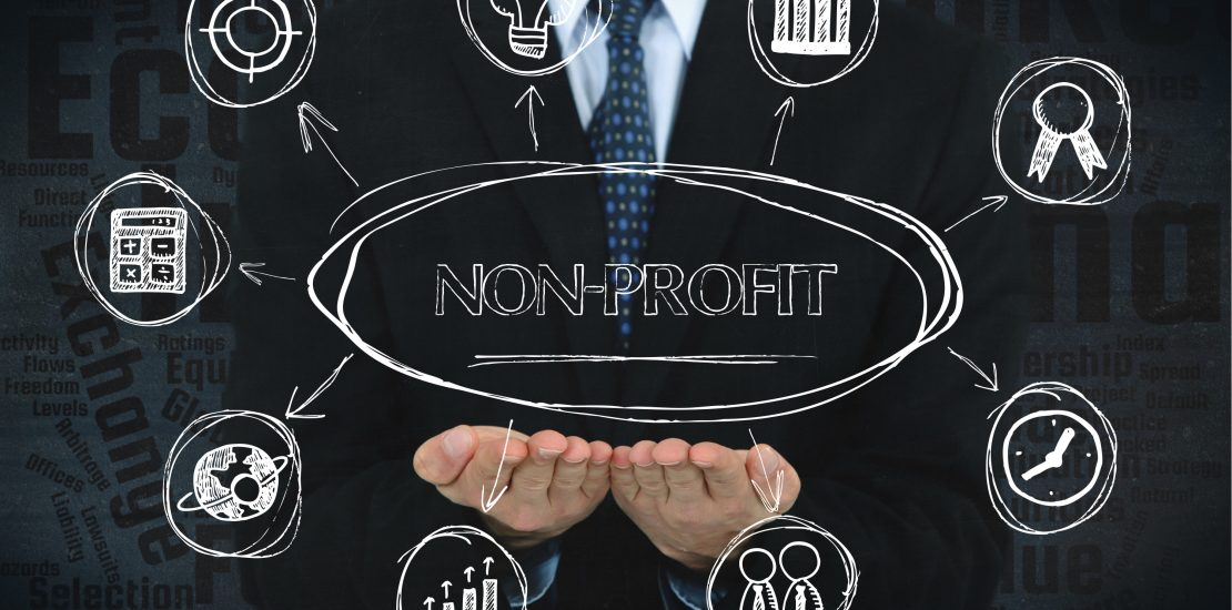 Nonprofit concept image with business icons.